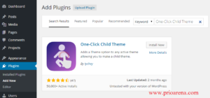 One click child theme