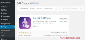 One click child theme